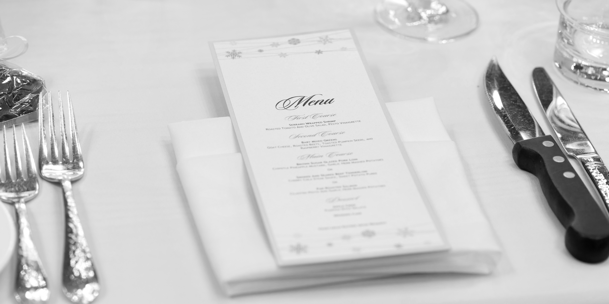 Dinner Table Setup with Menu